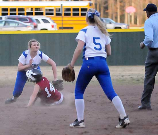 Bryant shortstop Cassidy Wilson applies the tag as Schyler Watson attempts to steal as Jenna Bruick (5) looks on. (Photo by Kevin Nagle)