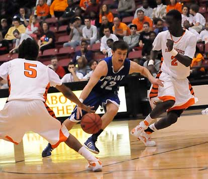 Bryant guard Brantley Cozart drives through a double-team. (Photo by Kevin Nagle)