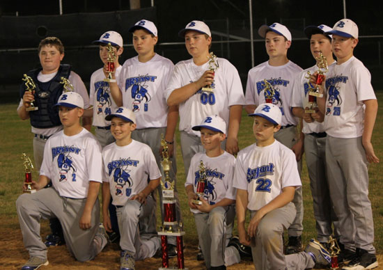 The Bryant 12's include, front from left, Dylan McKinney, Myers Buck, Joe Green, and Scott Schmidt; back row, Brandon Hoover, Caleb Dorsey, Zack Kemp, Preston Kyzer, Ethan Thompson, Christian Harp and Luke Curtis.