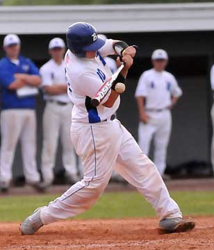Hayden Lessenberry fights off an inside pitch. (Photo by Kevin Nagle)