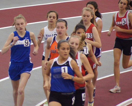 Bryant's Hannah Raney (9) broke an school mark in the 3200 that was set in 1994.