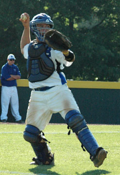 Bryant catcher Hayden Lessenberry. (Photo by Kevin Nagle)