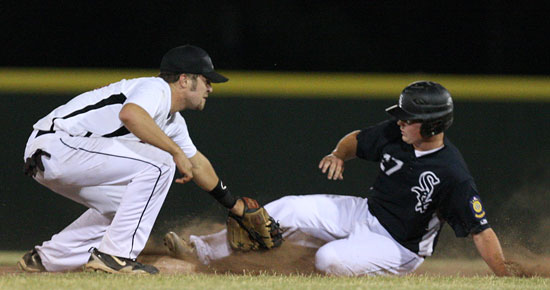 Tyler Brown slides into second as he's tagged by Benton's Ryne Besancon. He's was ruled out. (Photo by Rick Nation)