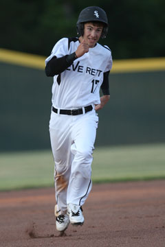 Austin Caldwell sprints for third on his way to scoring the game-ending run Wednesday. (Photo by Rick Nation)