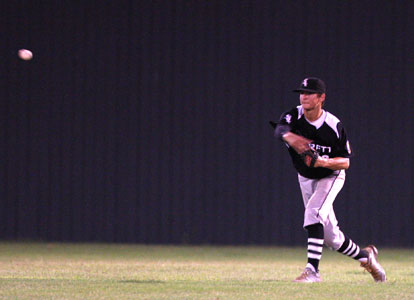 Chase Tucker returns the ball to the infield after catching a fly in center. (Photo by Rick Nation)