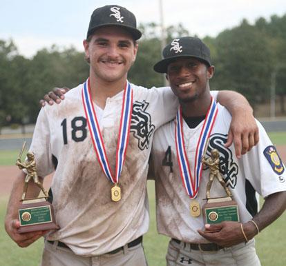 MVP Hunter Mayall and Top Hitter award-winner Marcus Wilson. (Photo by Rick Nation)