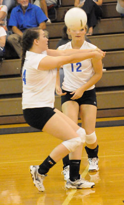 Brooke Howell controls the ball in front of teammate McKenzie Rice. (Photo by Kevin Nagle)