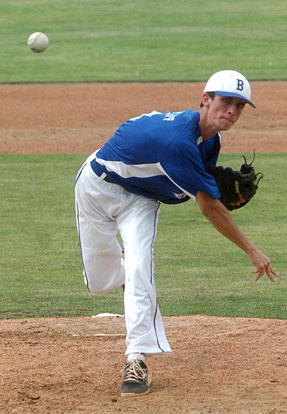 Alex Shurtleff delivers a pitch during Saturday's World Series contest against Clifton Park, N.Y. (Photo courtesy of Steven Smith, Hometown Sports)