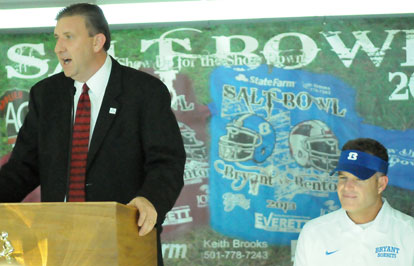 Shane Broadway introduces Bryant head coach Paul Calley at Monday's press conference. (Photo by Kevin Nagle)