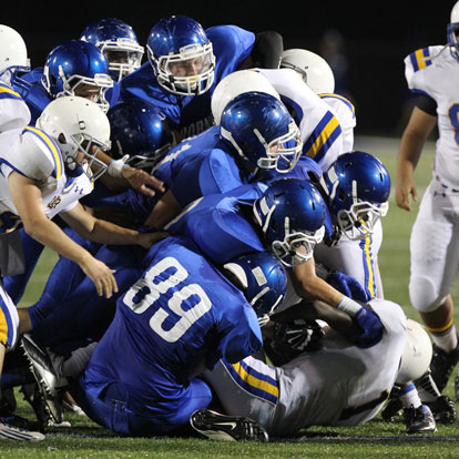 The Bryant defense including Chase Fox (89) stymied North Little Rock Thursday night. (Photo by Rick Nation)