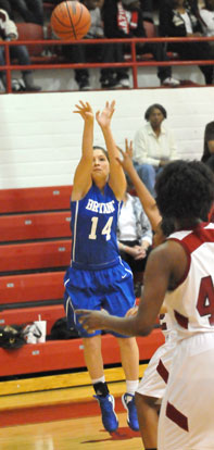 Peyton Weaver releases a 3-point shot. (Photo by Kevin Nagle)