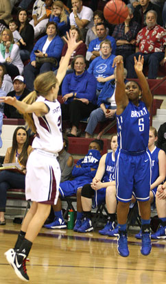 Dezerea Duckworth releases a 3-pointer over Benton's Braxton Chumley. (Photo by Rick Nation)