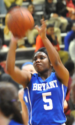 Dezerea Duckworth scored 7 of her 9 points during the Bryant Lady Hornets' comeback. (Photo by Kevin Nagle)