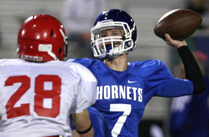 Beaux Bonvillain (7) tossed four touchdown passes in the win over Cabot South. (Photo by Rick Nation)