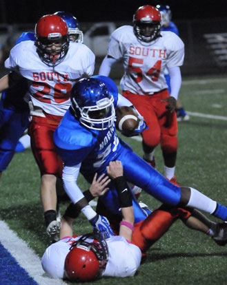 Bryant's DeAmonte Terry powers into the end zone on a two-point conversion. (Photo by Kevin Nagle)