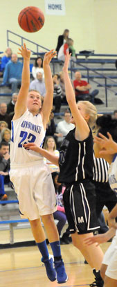 Bryant's Kendal Rogers fires up an off-balance shot. (Photo by Kevin Nagle)