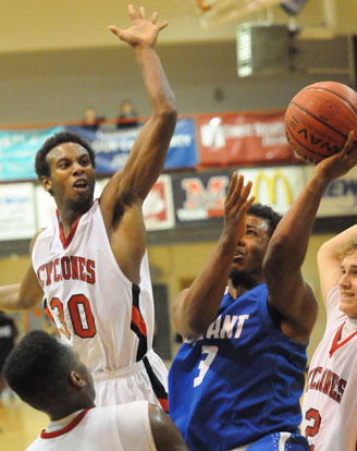Bryant's C.J. Rainey goes up for a shot off a drive into the lane. (Photo by Kevin Nagle)
