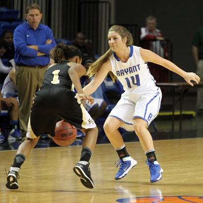 Peyton Weaver defends for Bryant. (Photo by Rick Nation)