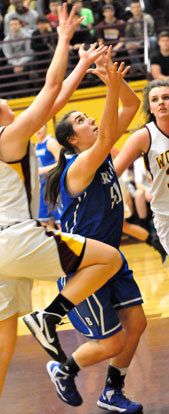 Bryant's Whitney Meyer (50) battles for a rebound. (Photo by Kevin Nagle)