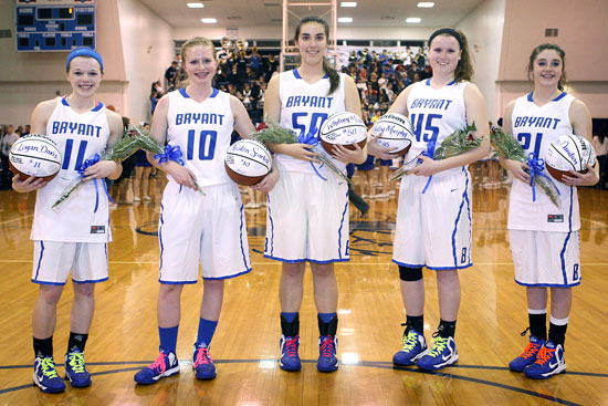 Bryant Lady Hornets seniors, from left, Logan Davis, Kristen Scarlett, Whitney Meyer, Hayley Murphy and Courtney Davidson (Photo by Rick Nation)