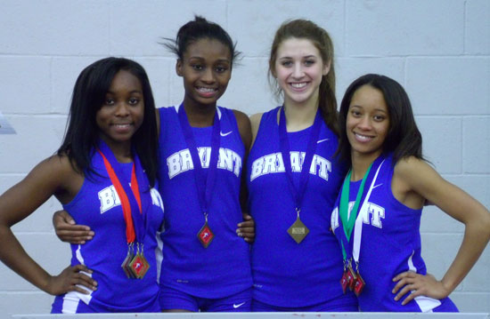 The 4x400 meter relay team of Alexis Royal, Fenice Boone, Leah Ward and Melinda Murdock