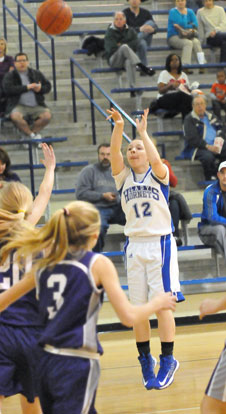 Bryant's Skylar Davis scored 8 of her game-high 12 points in the first three minutes of Monday's game. (Photo by Kevin Nagle)
