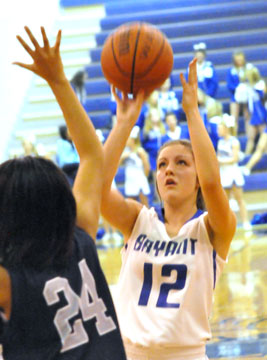 Bryant's Madeleine Baxter attempts a shot. (Photo by Kevin Nagle)