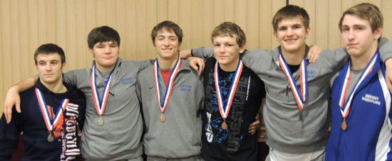 Medal winners, from left, Zach Simmons, Levi Brady, Brett Blend, Kyle Thompson, Connor Goshien and Austin May.