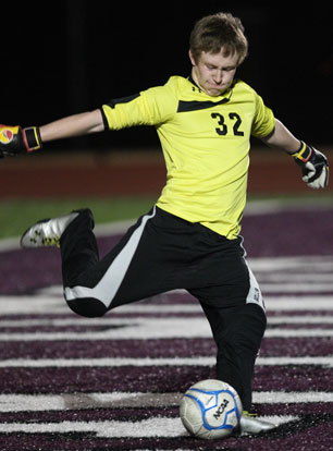 Bryant keeper Slade Lewis. (Photo by Rick Nation)