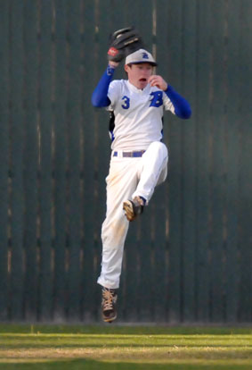 Tyler Green makes a leaping catch in center field. (Photo by Kevin Nagle)