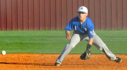 Bryant second baseman Korey Thompson lines up a grounder. (Photo by Kevin Nagle)