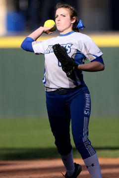 Breanna Sanders winds up for a throw to first. (PHoto by Rick Nation)