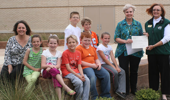 Front row, Hill Farm principal Stacy Smith, students Lexi Tombrello, Whitney Schleiff, Jonathan Armstrong, Will Owen, Anna Rabon, instructor Mary Armstrong, Project Wildlife Coordinator Pat Knighton; back row, students, Seth McCullough and Caleb Goines.