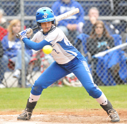 Shayla McKissock watches a pitch go by. (Photo by Kevin Nagle)