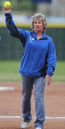 Janet Watson threw out the first pitch. (Photo by Rick Nation)