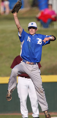 Ty Harris reaches for a throw to first. (Photo by Rick Nation)