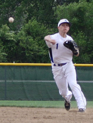 Second baseman Korey Thompson fires a throw to first. (Photo courtesy of J'Ann Lessenberry)