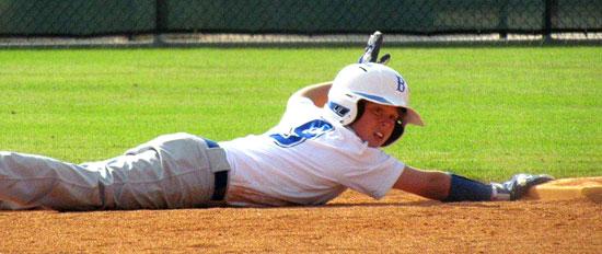 Tyler Jordan asks for time after diving back into second base. (Photo courtesy of Lara James)