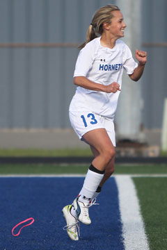 Bailey Gartrell celebrates a goal. (Photo by Rick Nation)