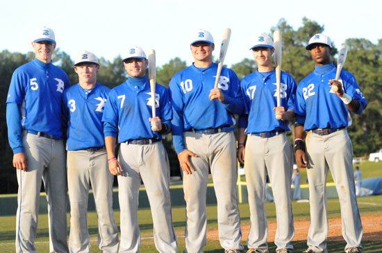 Bryant seniors, from left, Nate Rutherford, Tyler Green, Hayden Daniel, Hayden Lessenberry, Austin Caldwell, Marcus Wilson. (Photo by Kevin Nagle)