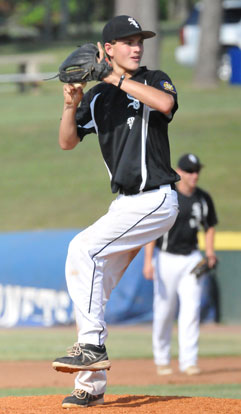 Nick Kehrees allowed two runs on six hits over six innings for the Sport Shop Sox. (Photo by Kevin Nagle)