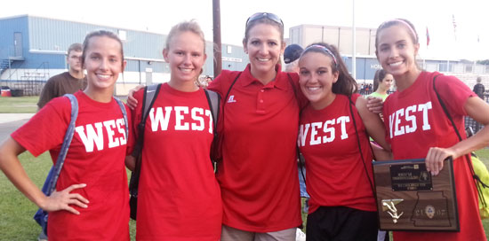 Bailey Gartrell, Kaitlin Gaiser, Bryant coach Julie Long, Lexie Ballisterri and Shelby Gartrell.