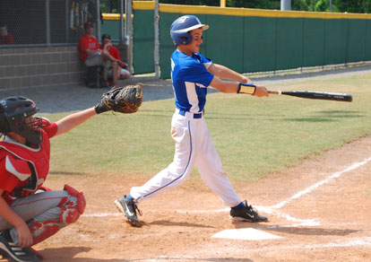 Cade Dupree follows through on a swing.