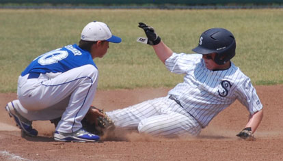 Bryant's Coby Greiner tags out a runner at third.