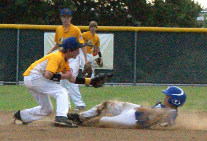 Coby Greiner slides safely into second under the shortstop's tag. (Photo courtesy of Coby Greiner)