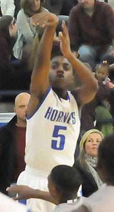 Brandon Harris scored all 5 of his points in the first quarter for Bryant. (Photo by Kevin Nagle)