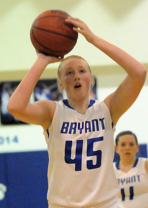 Rachel Miller attempts a free throw during Friday's junior varsity game. (Photo by KEvin Nagle)