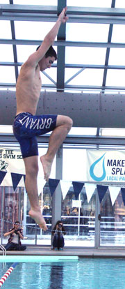 Justin Combs won the one-meter dive competition on Tuesday. (Photo courtesy of Julie Combs)
