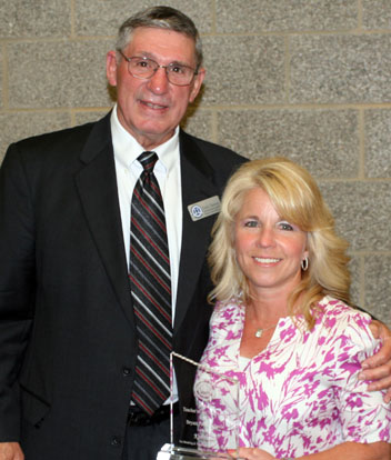 Interim Superintendent Dr. Fred Dawson and Kim Akers, Bryant Teacher of the Year