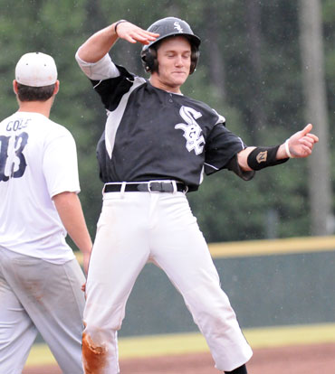 Drew Tipton celebrates after cracking a three-run triple in the fifth. (Photo by Kevin Nagle)